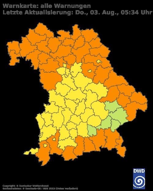 Aktuelle Wetterwarnungen für Nürnberger Land